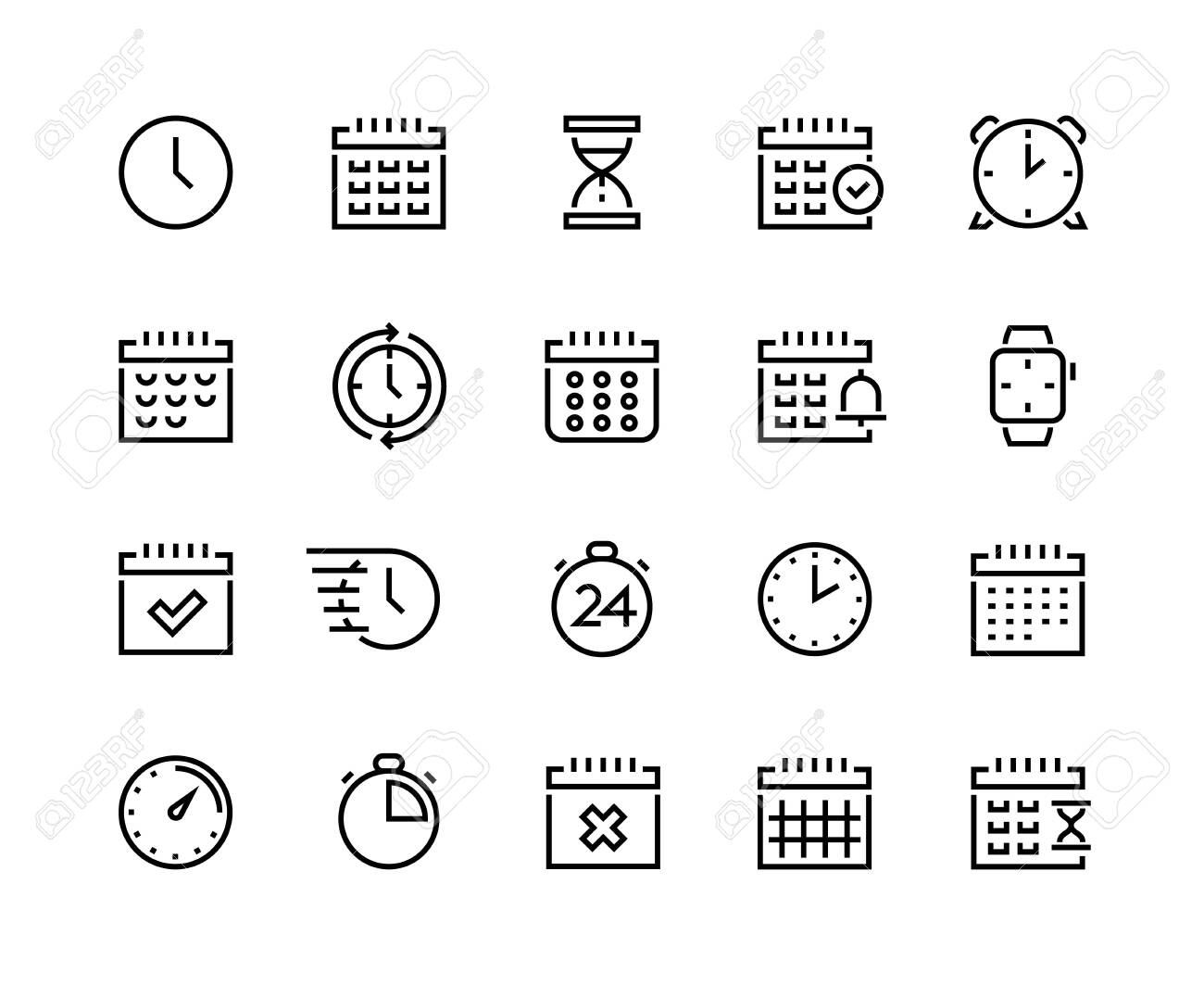 Time and calendar line icons. Business planning and schedule optimization pictograms with clock, alarm, stopwatch and chronometer. Vector set simple icon symbols timekeeper, sign time relativity - 143933656