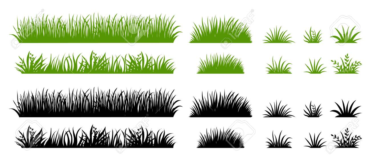 Green and black grass silhouette. Cartoon weed field. Lawn flat illustration. Vector eco and organic logo element set - 146286501