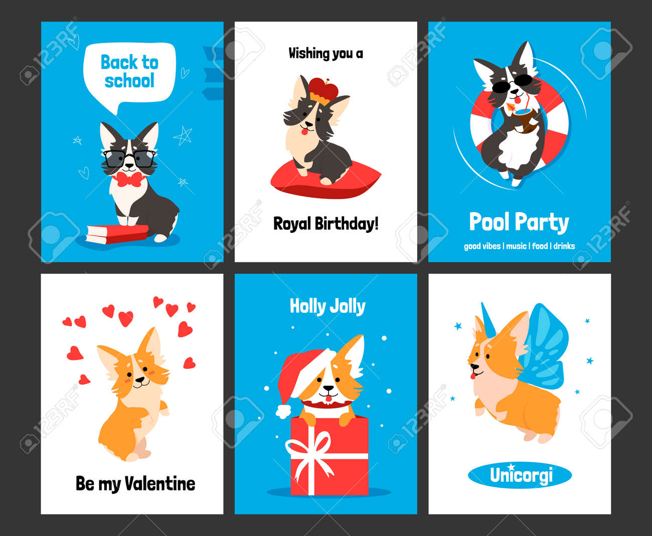 Corgi greeting card. Posters and invitations with cute puppy, cartoon dog characters on banners. Smiling animals with comic emotions, funny celebration text and holidays wishes. Vector postcards set - 157736470