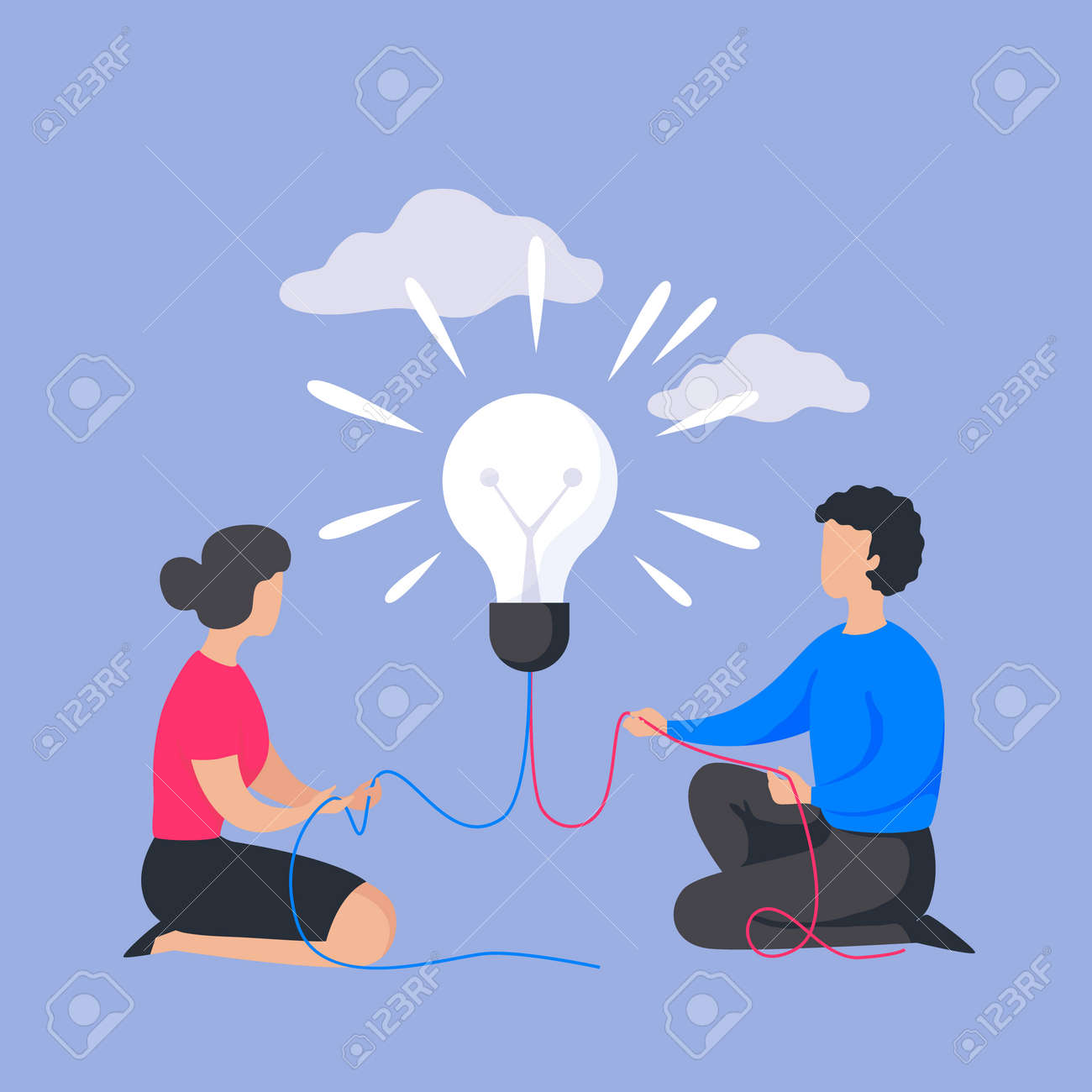 Business people concept. Cartoon man and woman with light bulb. Brainstorming banner, corporate project management or insight in teamwork communication process. Vector flat company partnership - 158329199