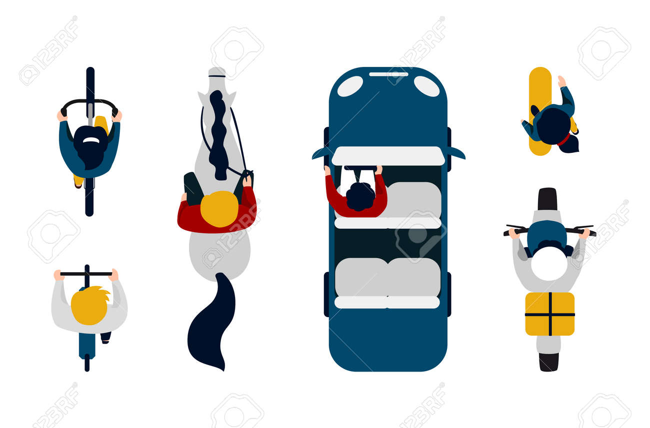 People on transport top view. Cartoon people driving car, motorbike and bicycle. Cute man and woman riding horse, on skateboard. - 159850572