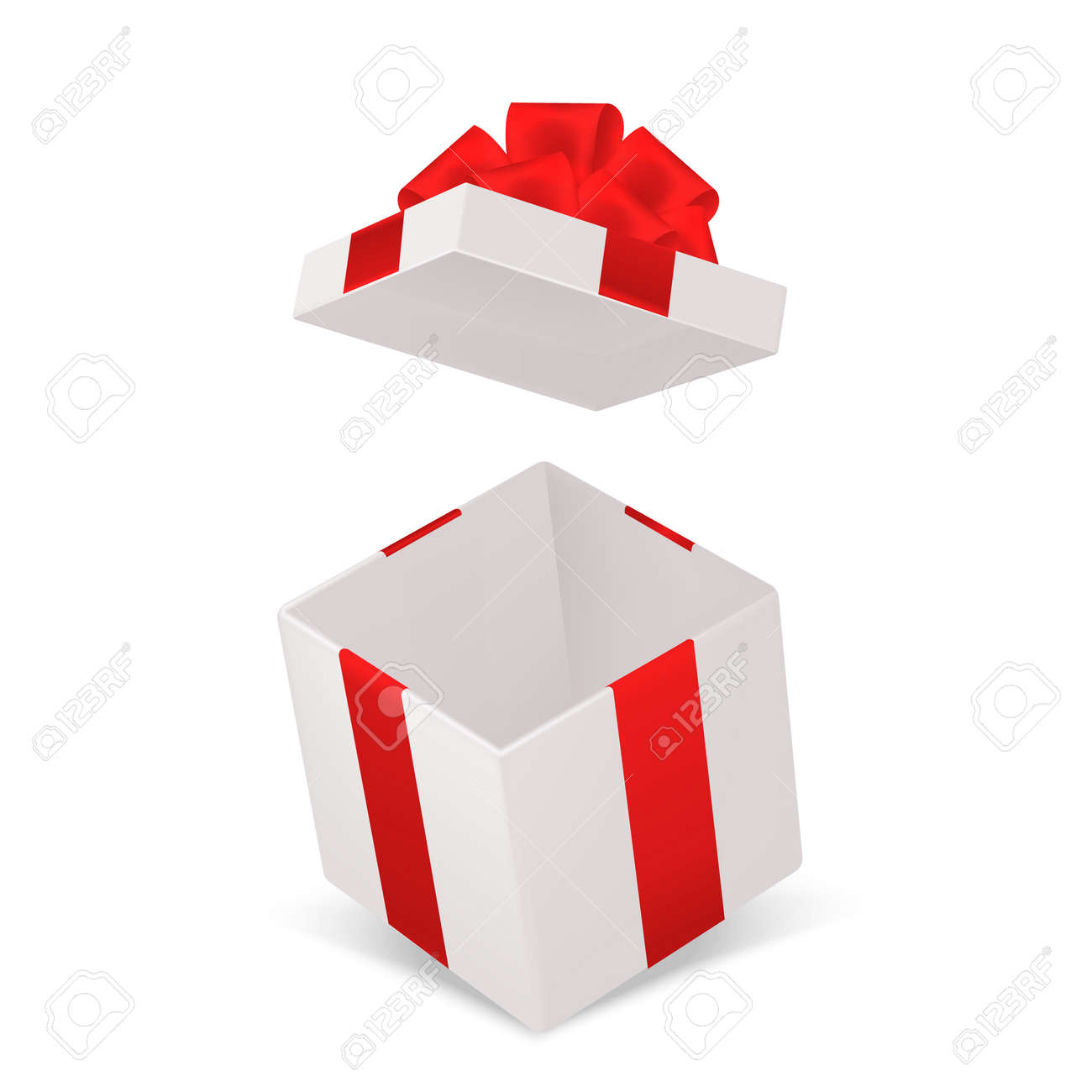 Open gift box. Realistic cardboard cube container with red bow angle view. Decorative empty pack mockup. Holiday or birthday surprise. Vector 3d surprise package isolated illustration - 165663925