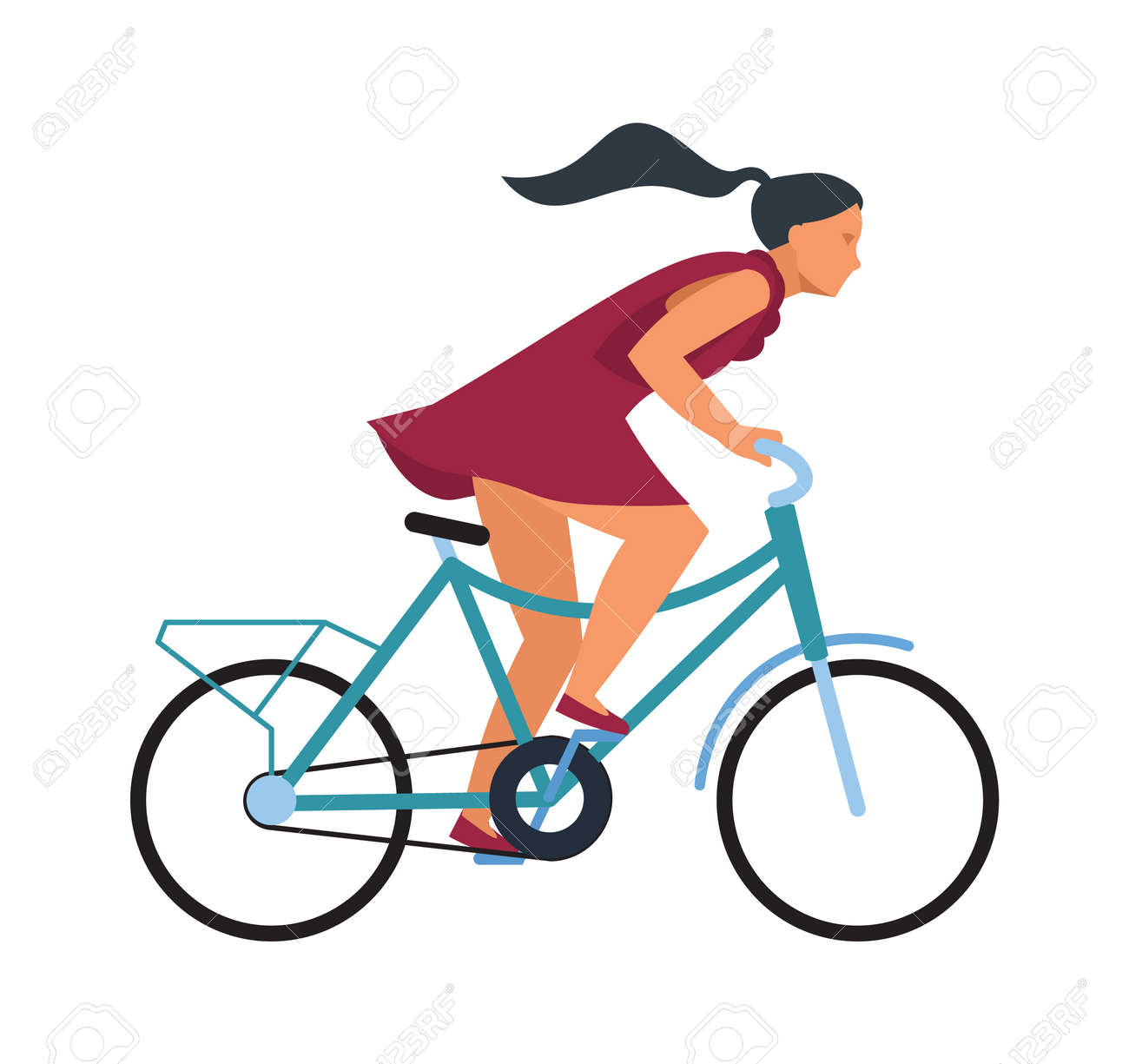 Girl on bike. Cartoon woman riding bicycle fast. Profile view of young female on wheel transport. Isolated hurrying cyclist. Outdoor workout or sport competition. Vector illustration - 166972857