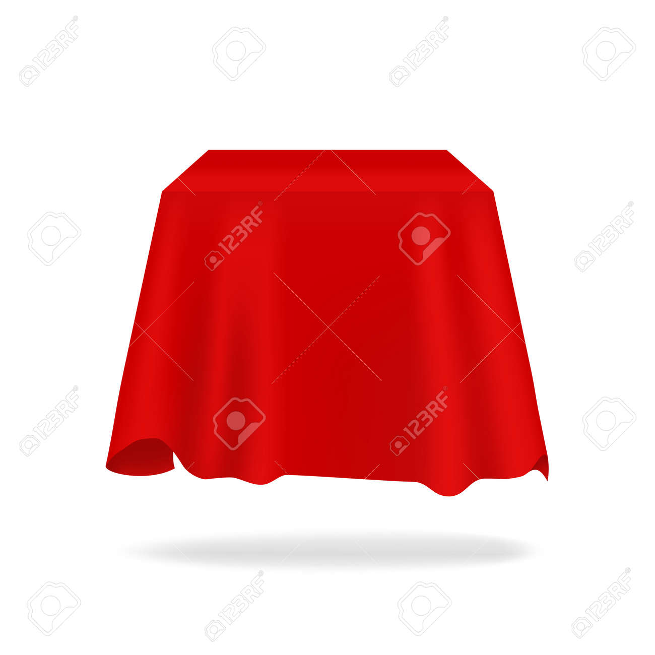 Red silk cover. Realistic secret box hidden under fabric. 3D bright flowing tablecloth mockup with folds. Exhibition drapery. Smooth satin material. Vector blank presentation drape - 167723708