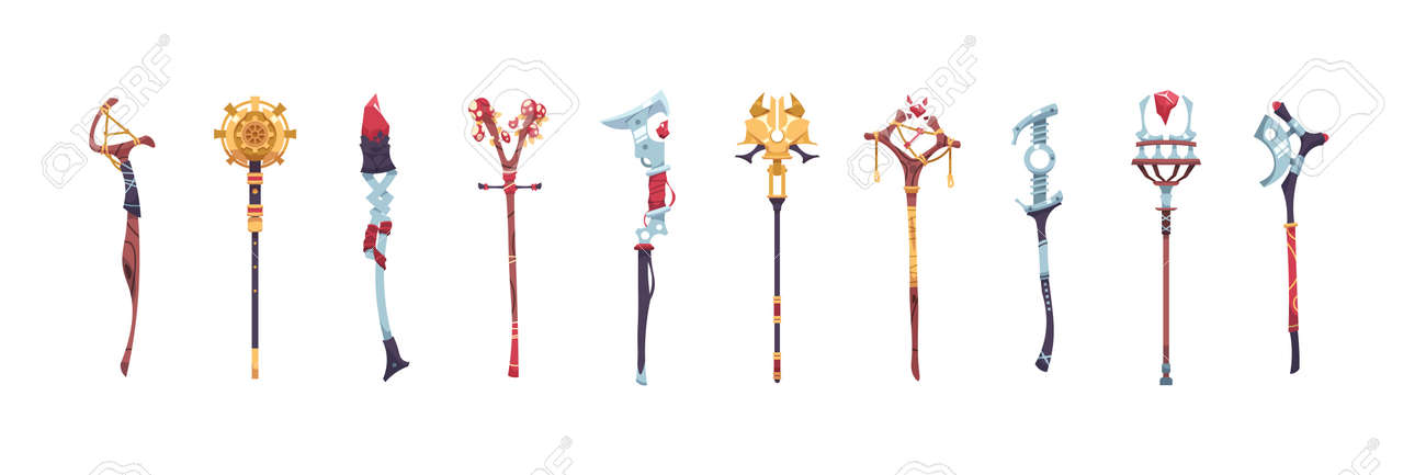 Magic staves. Wizard sticks and wands. Antique scepter weapon with decorative crystals. Magical wooden and metal staff. Sorcerer and shaman tools. Vector warlock costume elements set - 173179113