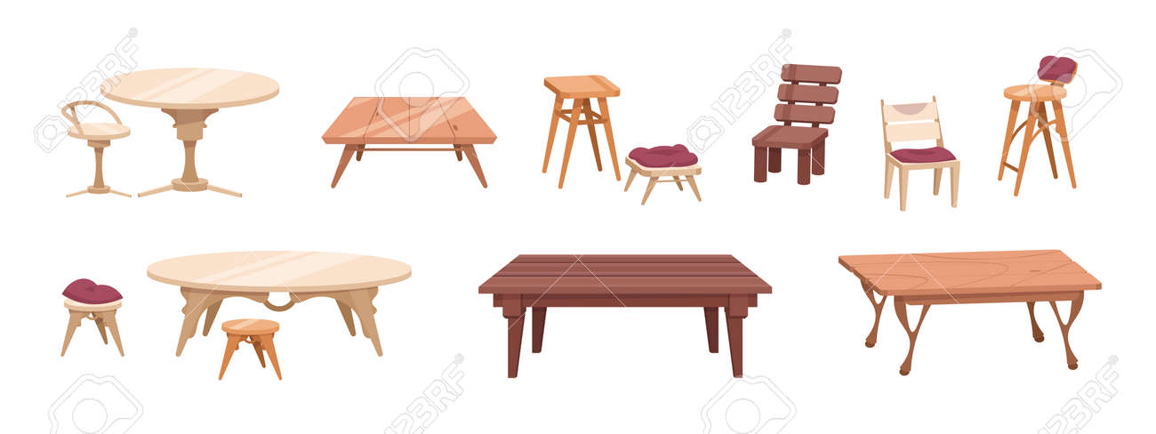 Wooden furniture. Cartoon tables and chairs for dining room and outdoor patio. Antique and modern tables from wood. Bar stools. Interior elements on white. Vector home woodwork set - 173355433
