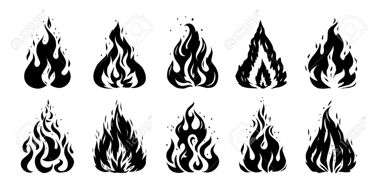 Fire sketch. Hand drawn silhouette of flame. Retro stencil of doodle fireplace. Isolated black and white bonfire mockup. Warning flammable symbols template. Vector ignite signs set - 173374316