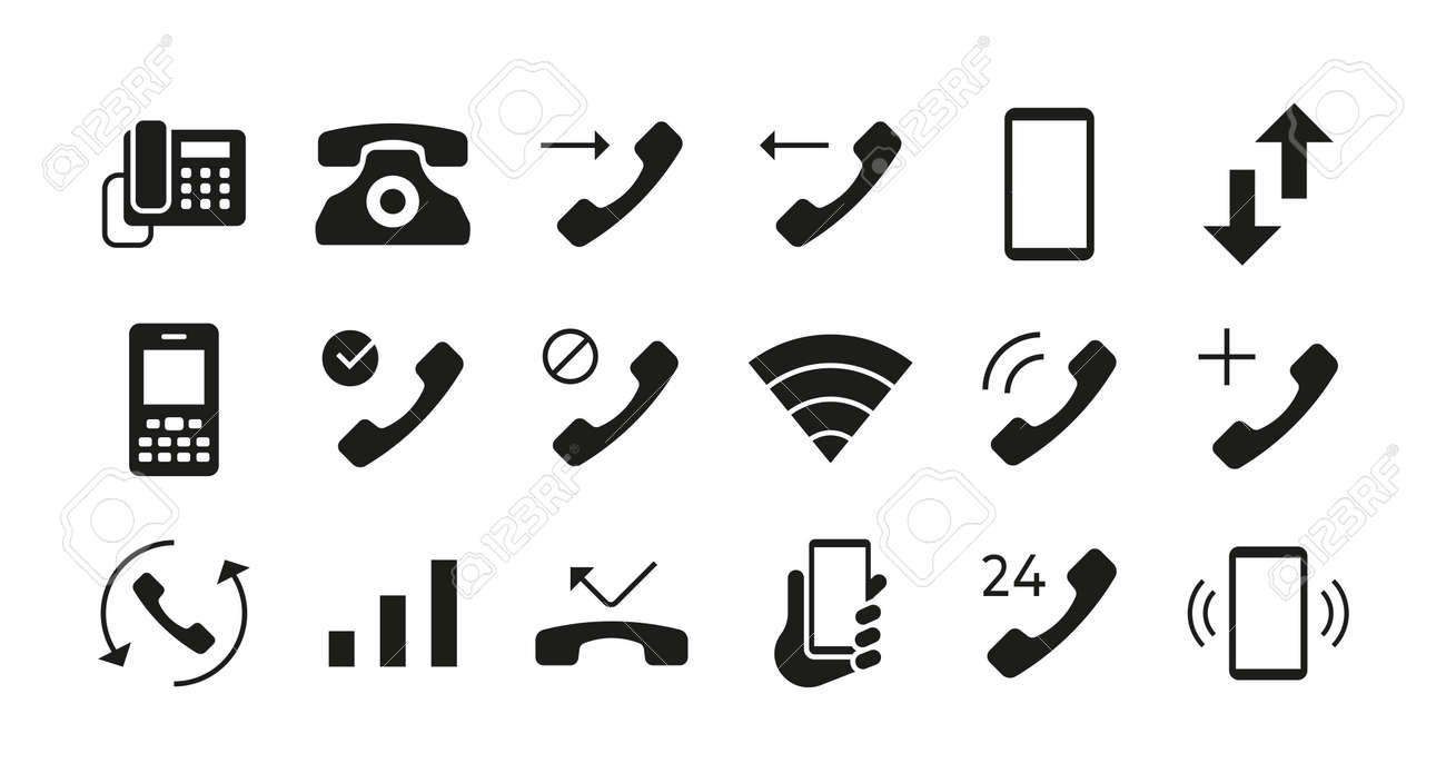 Phone icons. Telephone mail and smartphone communication symbols. Answer and decline call interface button. Phone network connection indicators mockup. Vector isolated graphic signs set - 173374318