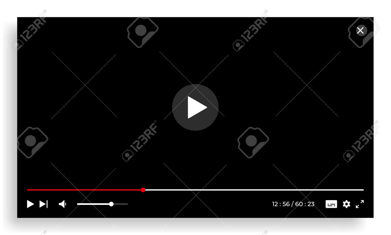 Online video player. Streaming screen template with interface buttons. Empty digital window with progress bar, play forward and volume UI icons. Vector network multimedia illustration - 173374319