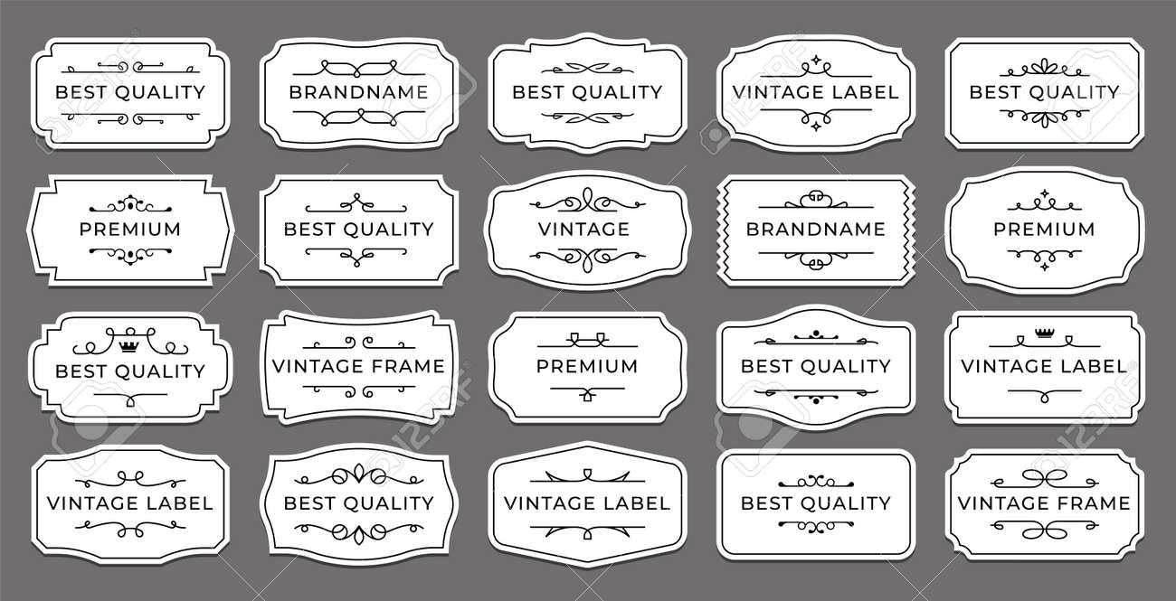 Vintage label. Decorative retro sticker with ornamental elements. Isolated minimalistic tags layout. Classic elegant borders mockup for branding. Vector wedding calligraphic emblems set - 173374320