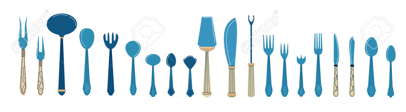 Cutlery. Cartoon tableware with spoons, knives and forks. Dining tools and tableware icons. Banquet flatware. Blue tablespoon or teaspoon. Vector restaurant and bistro elements set - 173374322