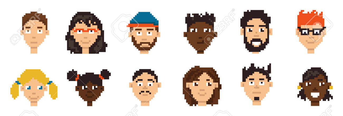 Pixel avatars. Hero character minimalistic game portrait concept. Cartoon player network account icon design collection. Simple female and male face. Vector retro boy and girl heads set - 173374323