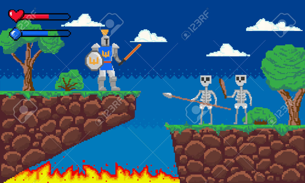 Pixel game. Platform 8-bit video gaming screen with gameplay skeleton enemies and knight player. Arcade adventure interface template. Old computer entertainment. Vector illustration - 173355648