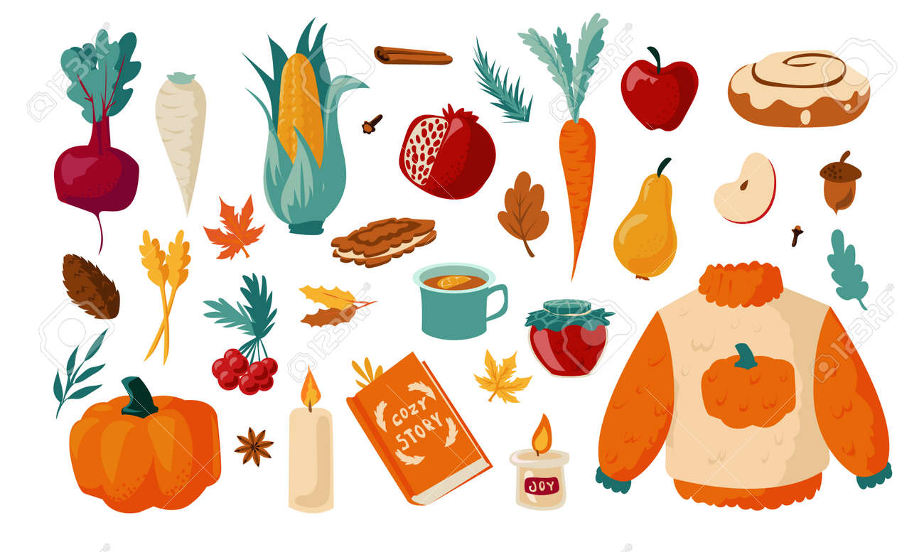 Autumn set. Cartoon falling foliage with warm clothes. Hot drinks and sweet cookies. Vegetables or fruits harvest. Cozy October collection. Maple and oak leaves. Vector season elements - 173355605