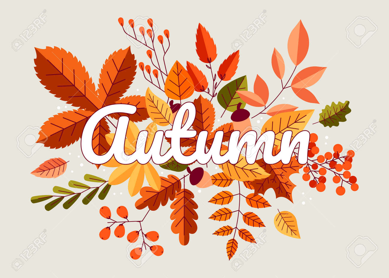 Autumn background. Fall composition with yellow orange and red forest leaves, maple oak and chestnut trees foliage. Cartoon autumn wallpaper, poster or card, vector isolated illustration - 173374326