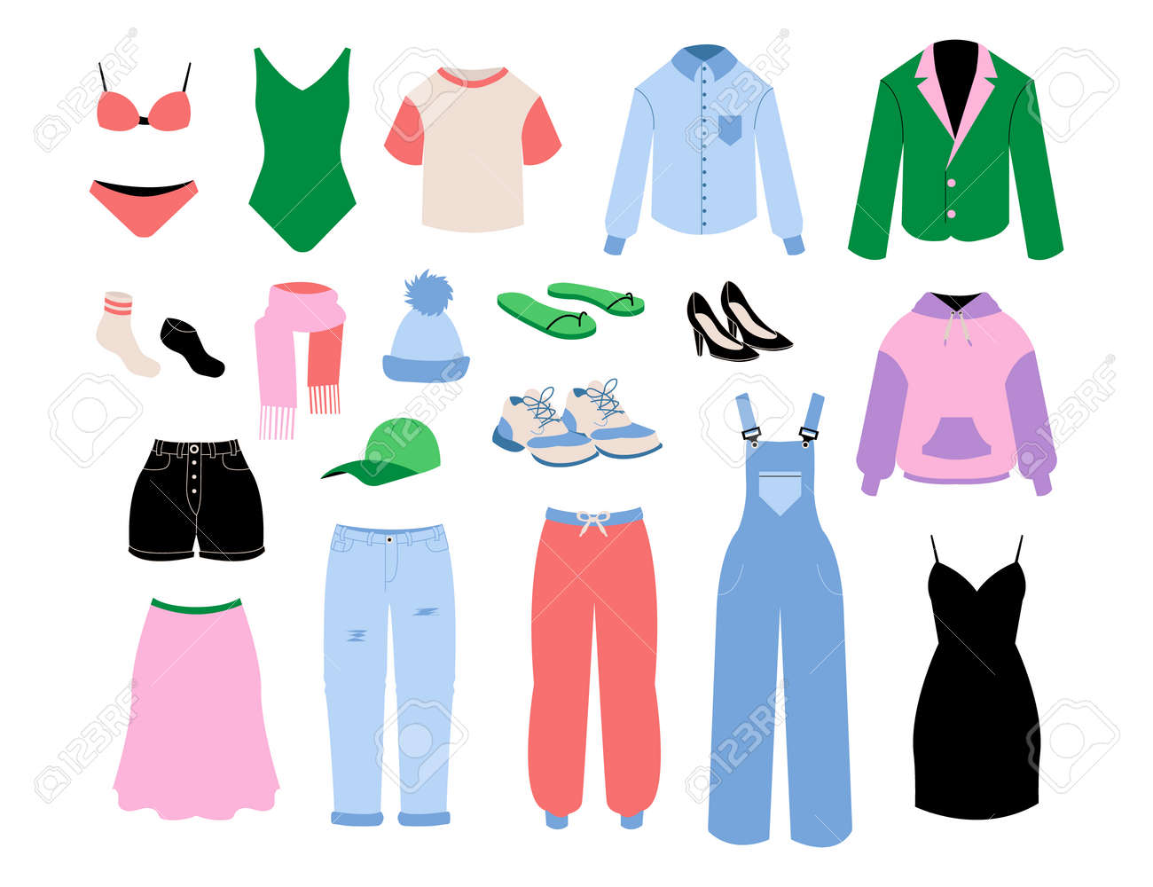 Women clothes. Cartoon fashion girls and adult seasonal outfits. Skirt and shirt. Bright pants or shoes. Casual and business clothing. Underwear and accessories. Vector garments set - 173355724