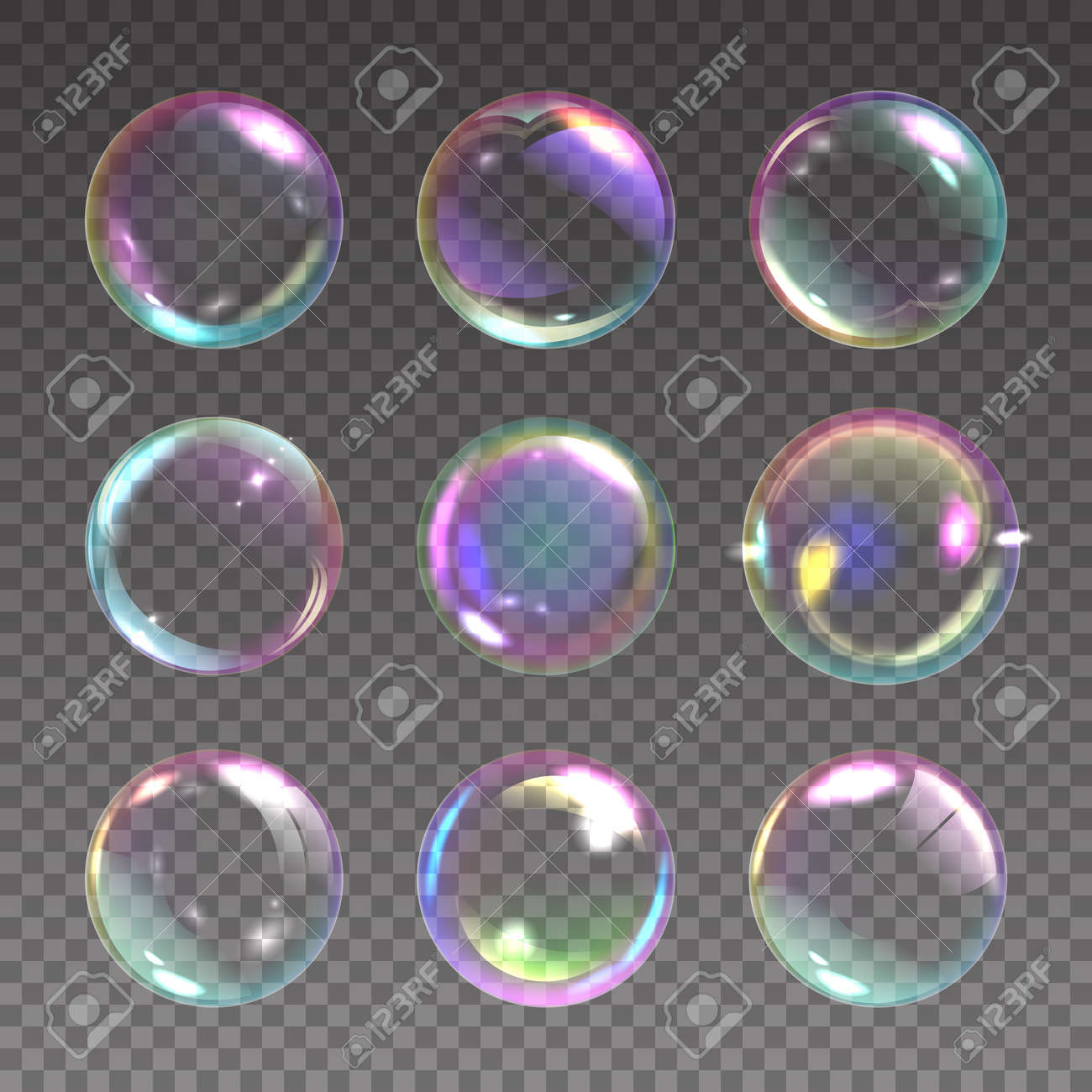 Realistic soap bubble. Detergent foam rainbow colored ball, laundry and shower color iridescent clear shampoo bubbles. Shiny washing circles. Vector isolated on transparent background set - 173354939
