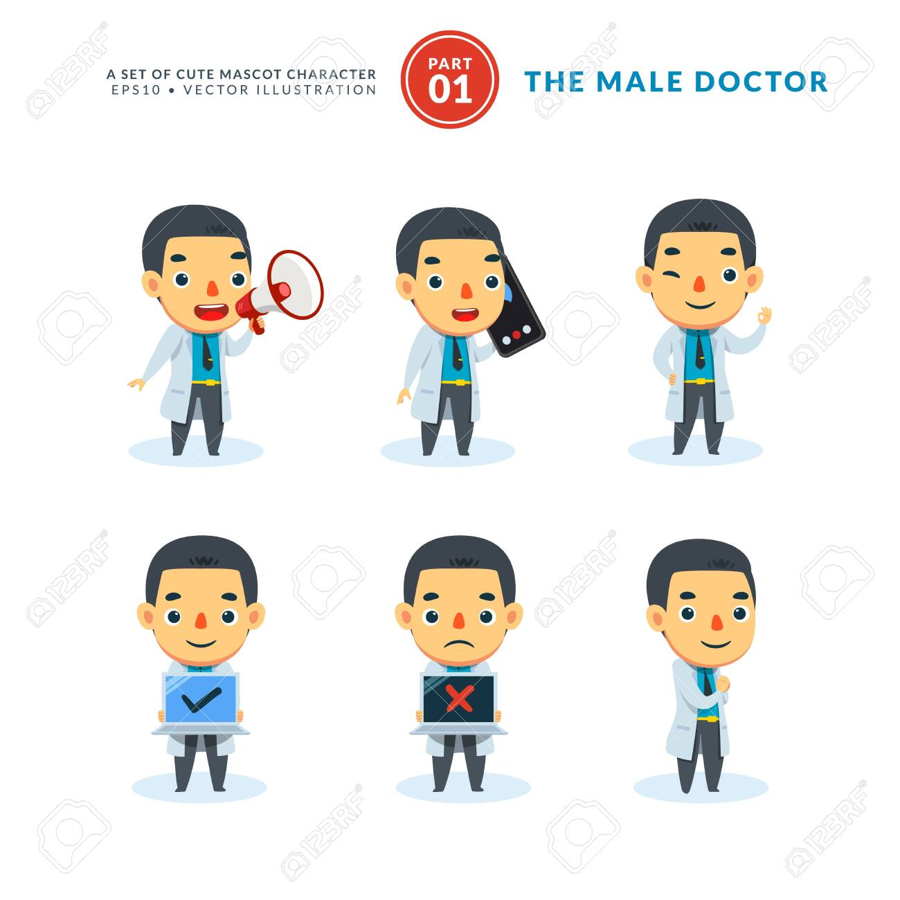 Vector set of cartoon images of Male Doctor. First Set. Isolated Vector Illustration - 149747061