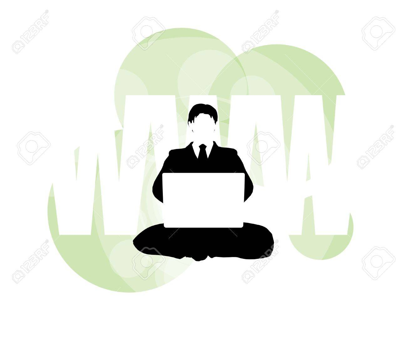 3D illustration of businessman on laptop against WWW background - 5826376