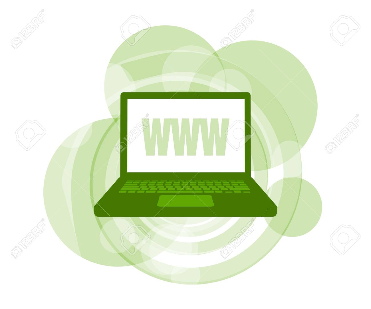 3D illustration of laptop computer displaying WWW against green background - 5826390