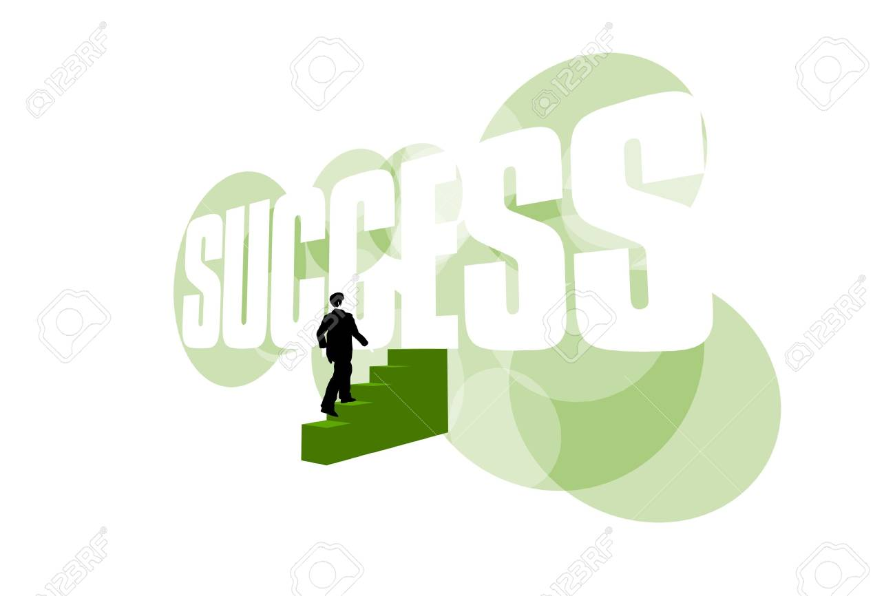 Businessman climbing stairs to success on white background - 5826372