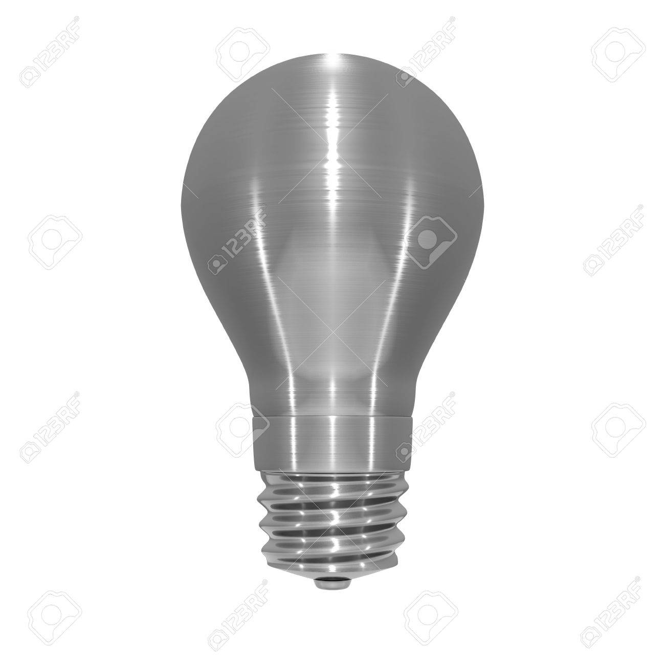 3D illustration of metallic, brushed steel effect light bulb on white background - 5875874