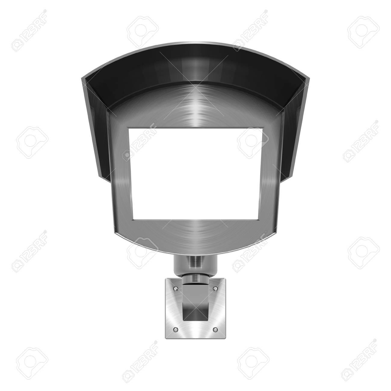 3D illustration of metallic, brushed steel effect CCTV camera on white background - 5875877