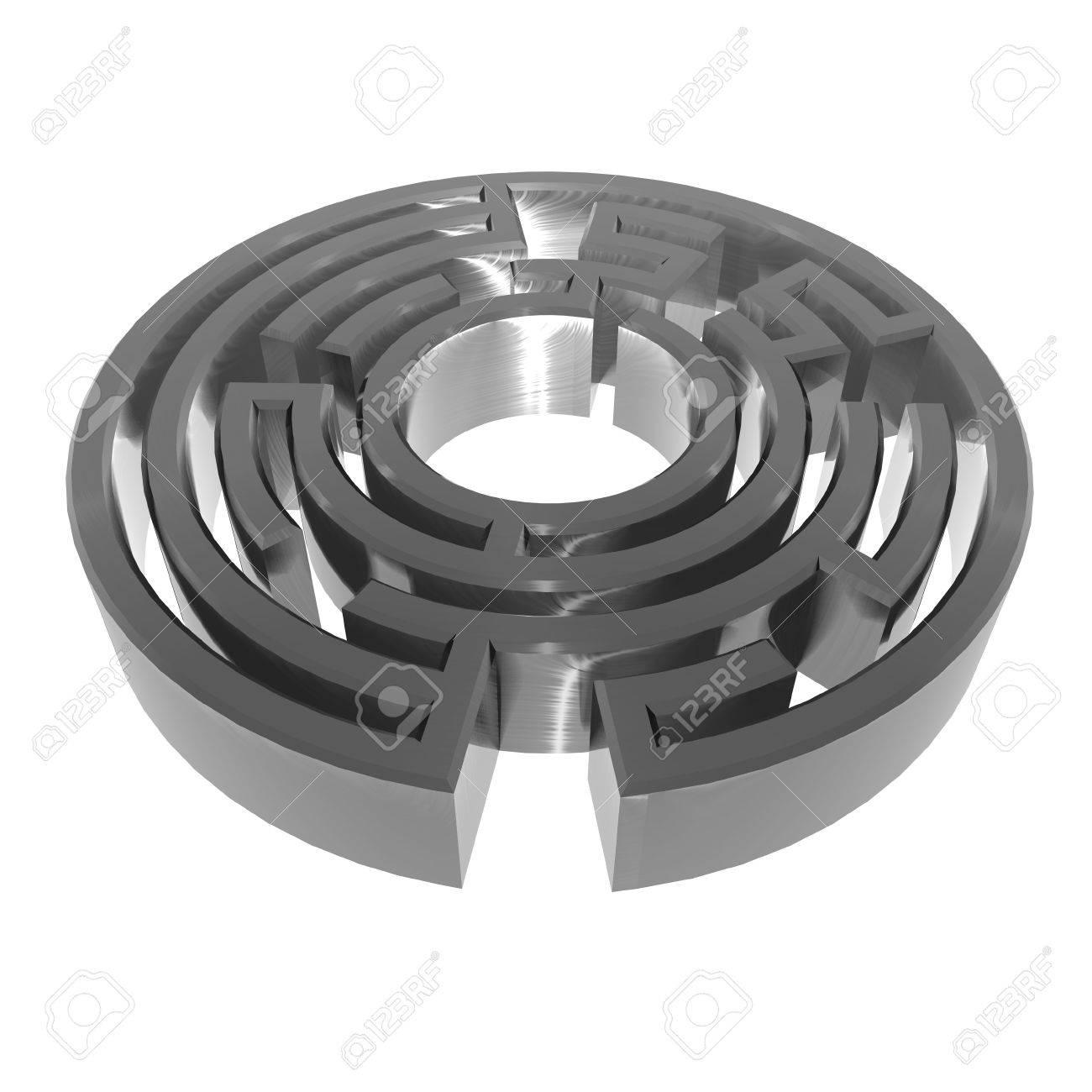 3D illustration of metallic, brushed steel effect maze on white background - 5875880