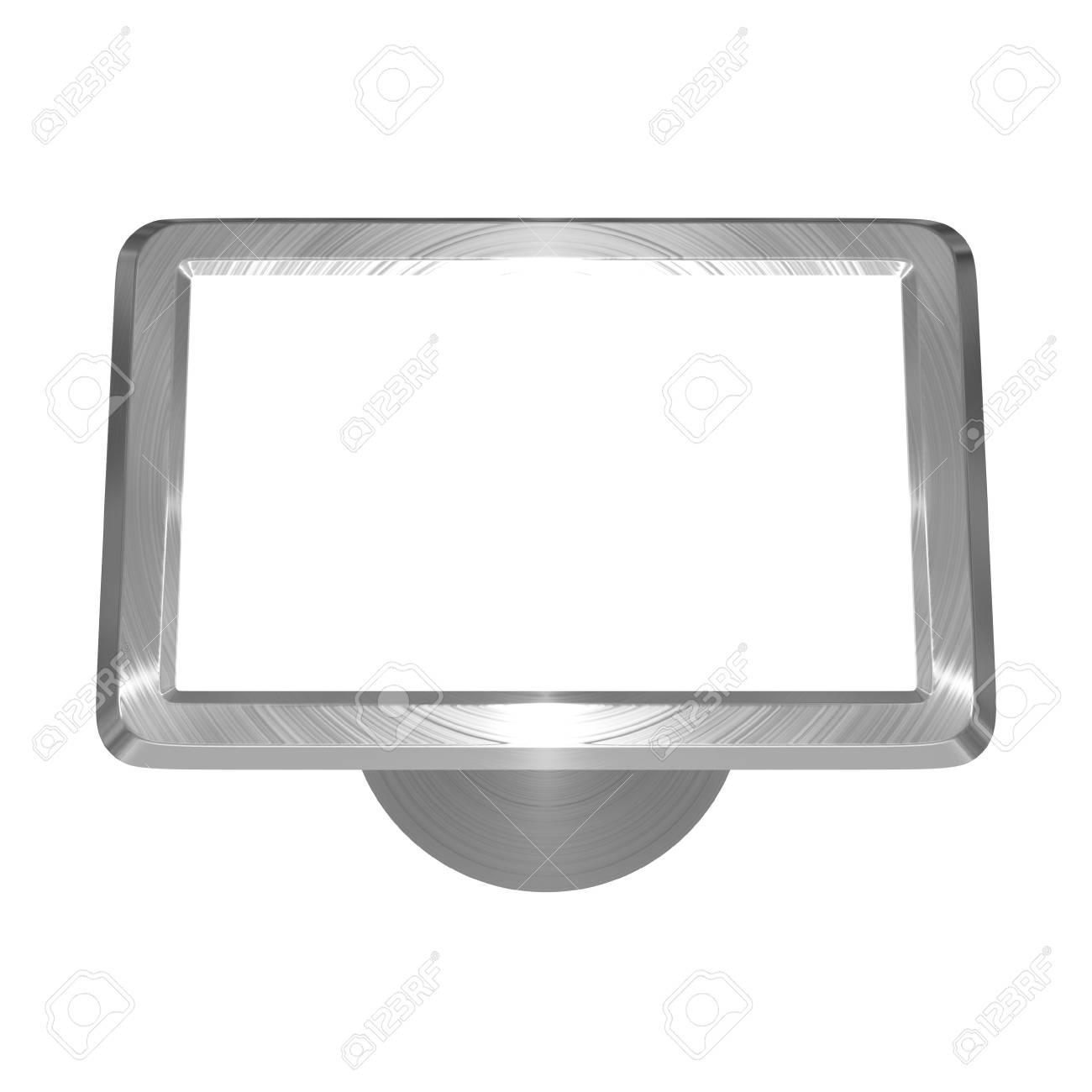 3D illustration of metallic, brushed steel effect satellite navigation on white background - 5875876