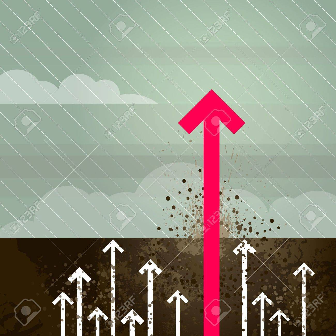 Groundbreaking magenta arrow pushing through earth - 6722667