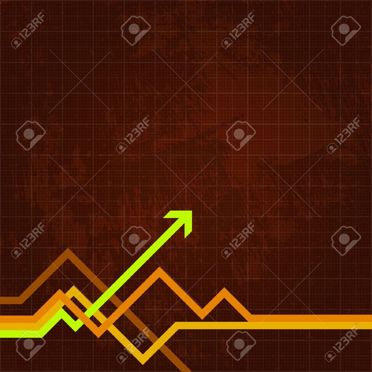Green arrow pushing forward on grungy chart - 6722673