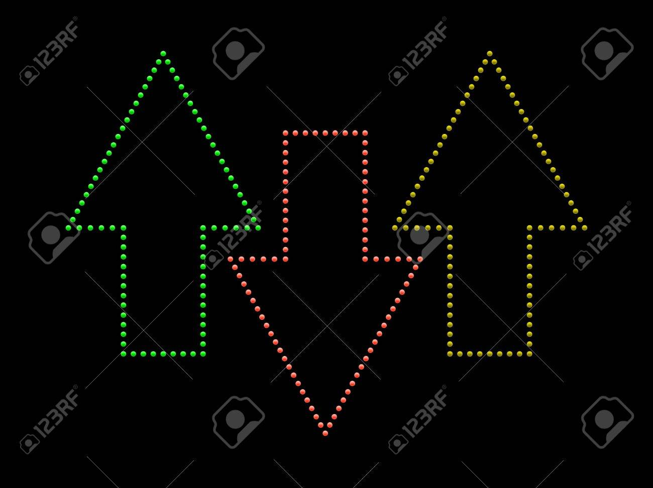 Illustration of colored arrows made up from shiny light buttons. - 9757256