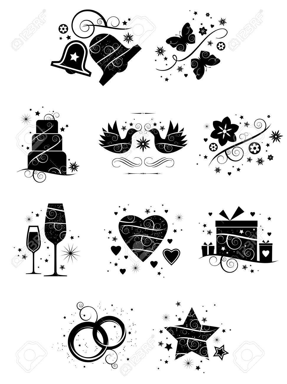 A set of ten beautifully crafted, ornate icons for wedding and romance applications - 27555390