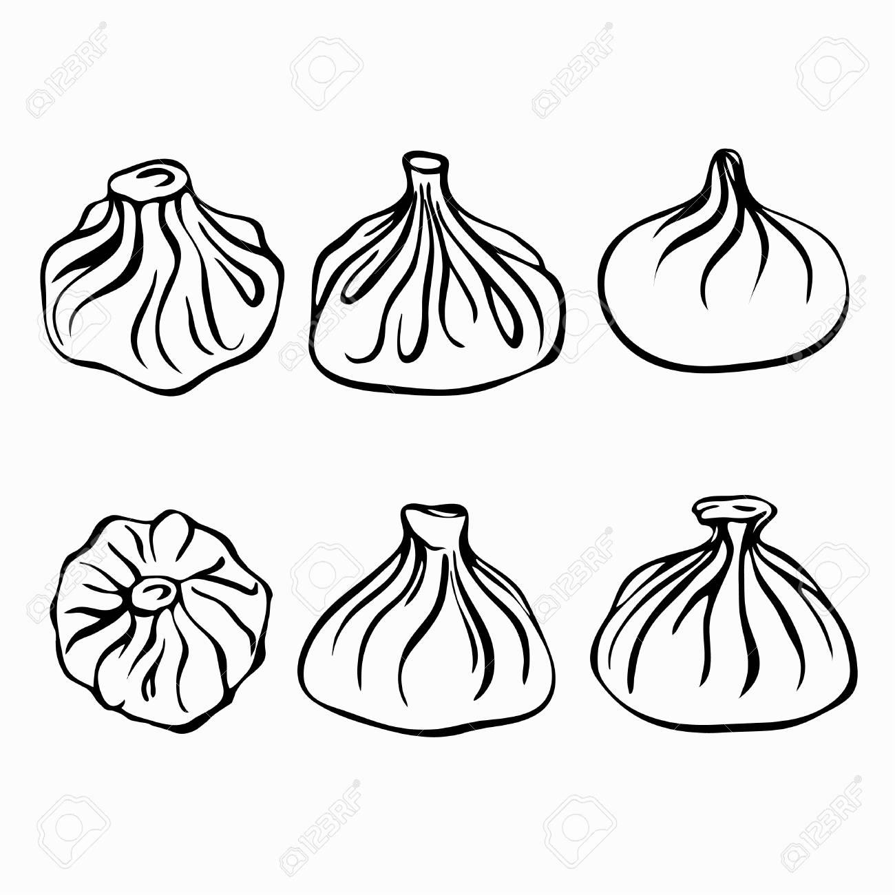 hand drawn vector sketch of khinkalis meat dumplings national  hand drawn vector sketch of khinkalis meat dumplings national traditional dish of ge ian cuisine