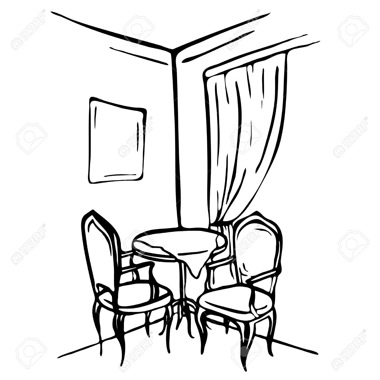 Hand Gezeichnete Skizze. Esszimmerinnenraum. Tisch Und