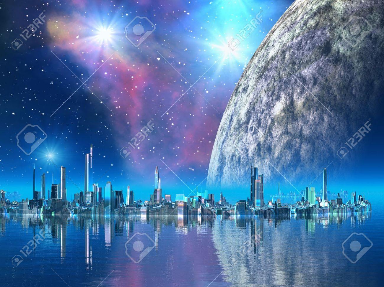 Futuristic Floating City - 10480254