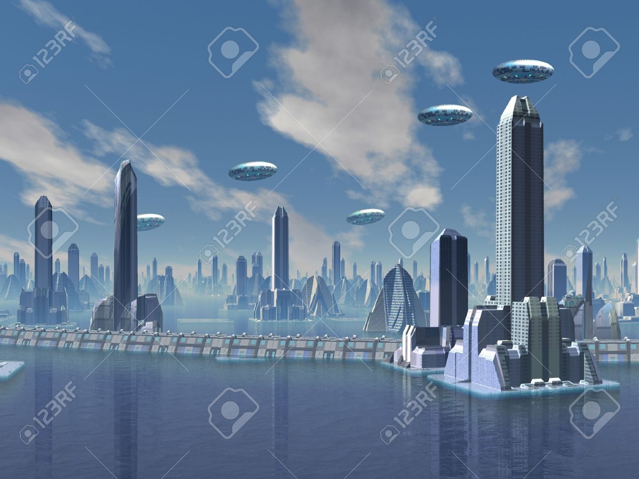 Ufo Over Futuristic Alien City Stock Photo Picture And Royalty