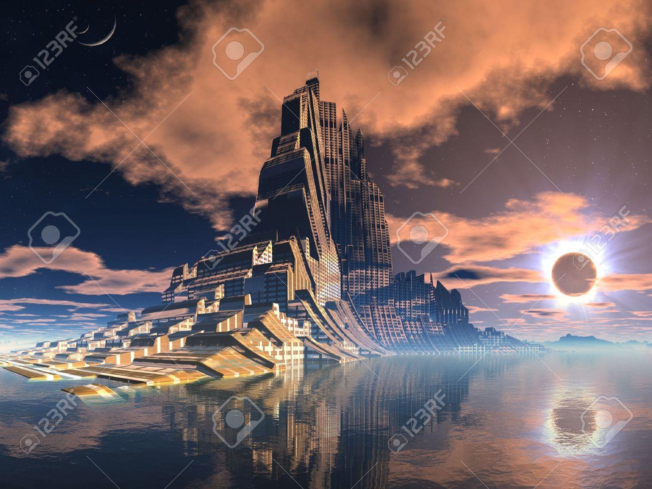 Futuristic Alien City at Lunar Eclipse Stock Photo - 10480250