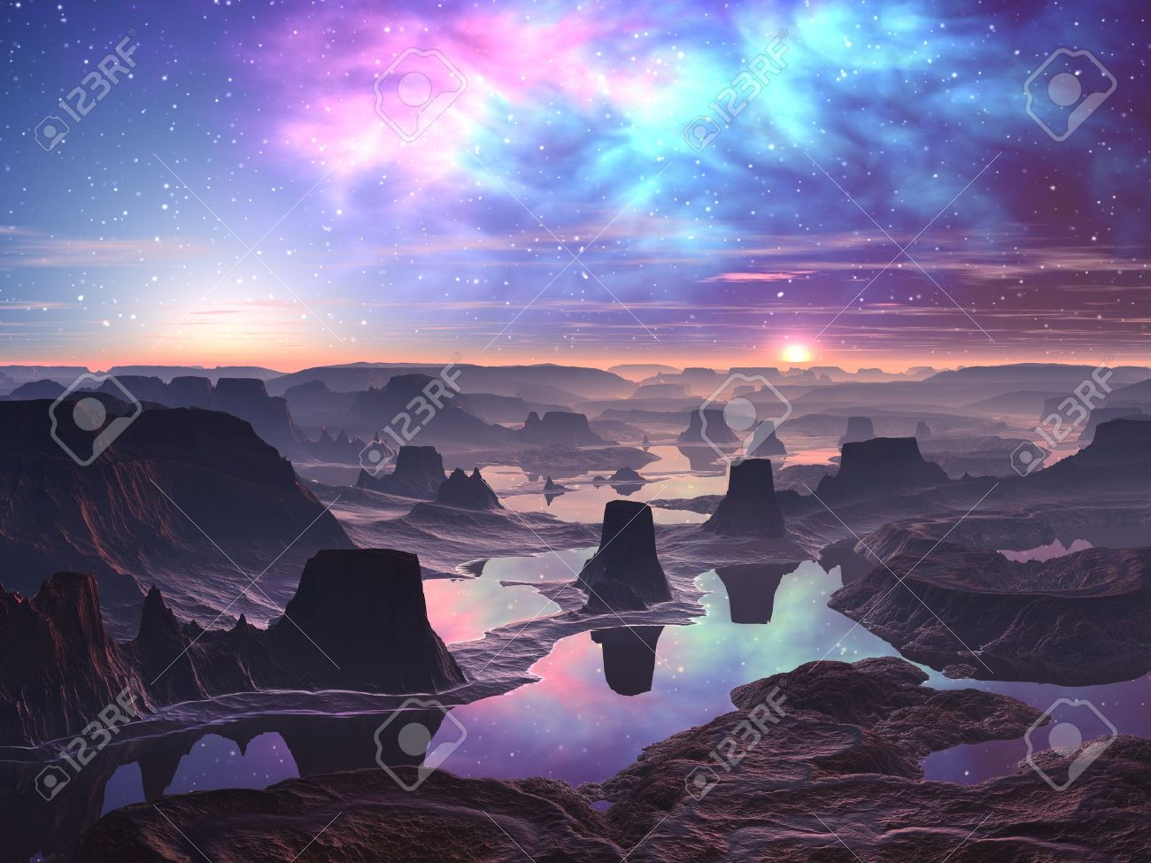 Gaseous Aurora over Mountainous Alien Landscape Stock Photo - 10575989