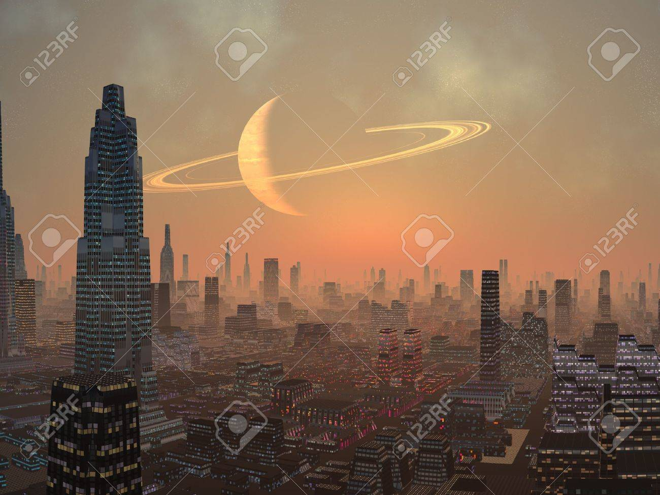 Hot Summer Night In Alien City Stock Photo Picture And Royalty