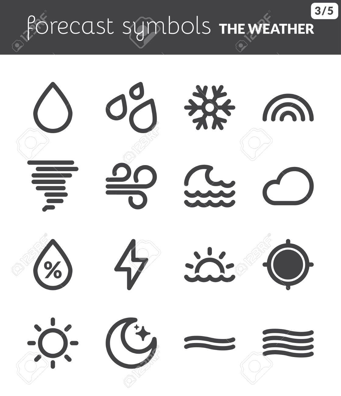 Black Icons About The Weather Forecast Symbols 1 Royalty Free