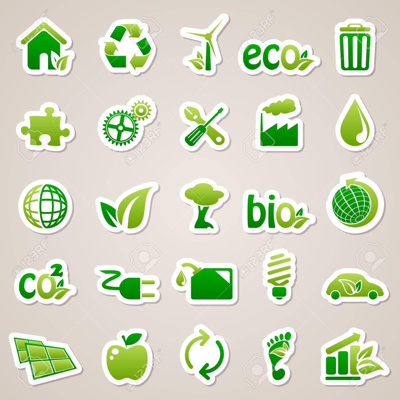Icons for web design stickers about ecology concept stock vector 23857436