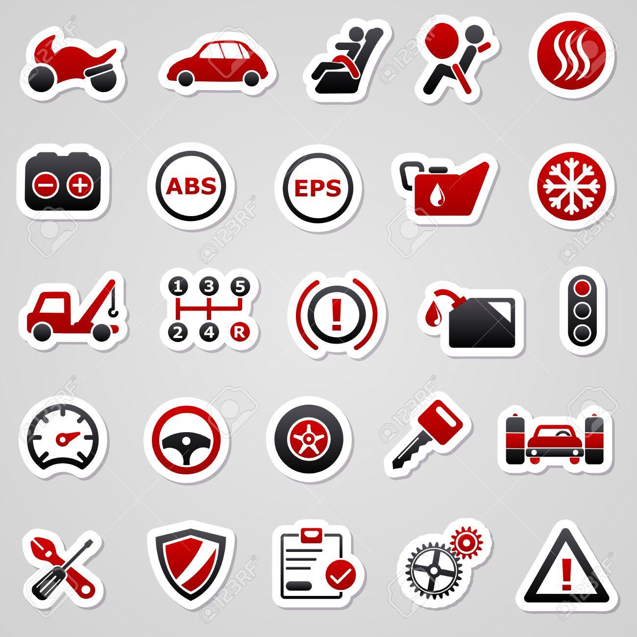 Car body sticker design eps - Car Bodywork Icons For Web Design Automotive Red Stickers