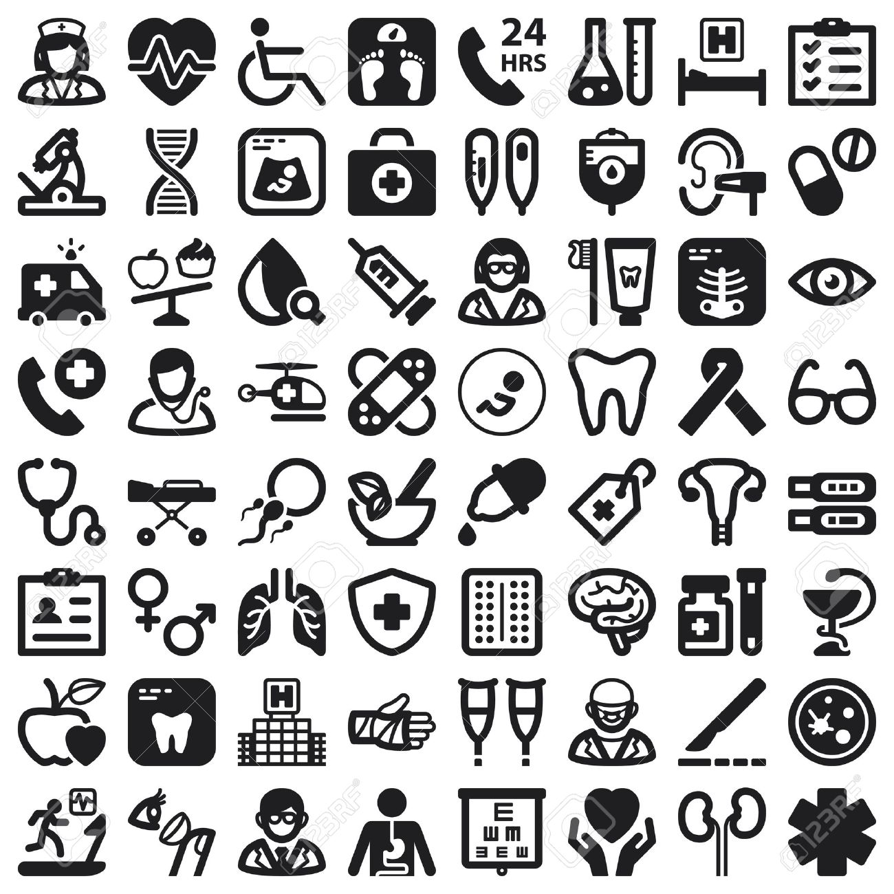 Set of black flat icons about health - 25332054