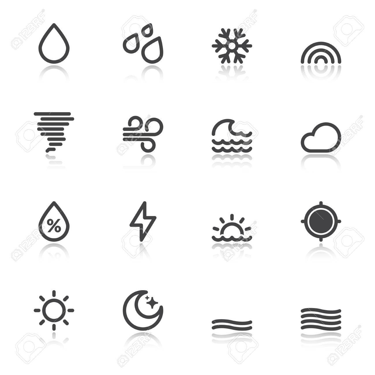 Black Icons With Reflection About The Weather Forecast Symbols