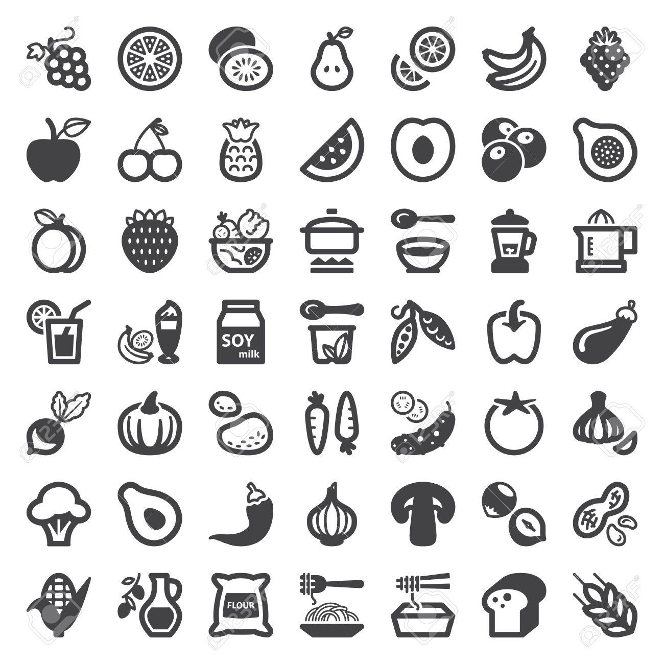 Set Von Icons Flach über Vegane Speisen Und Getränke Lizenzfrei ...