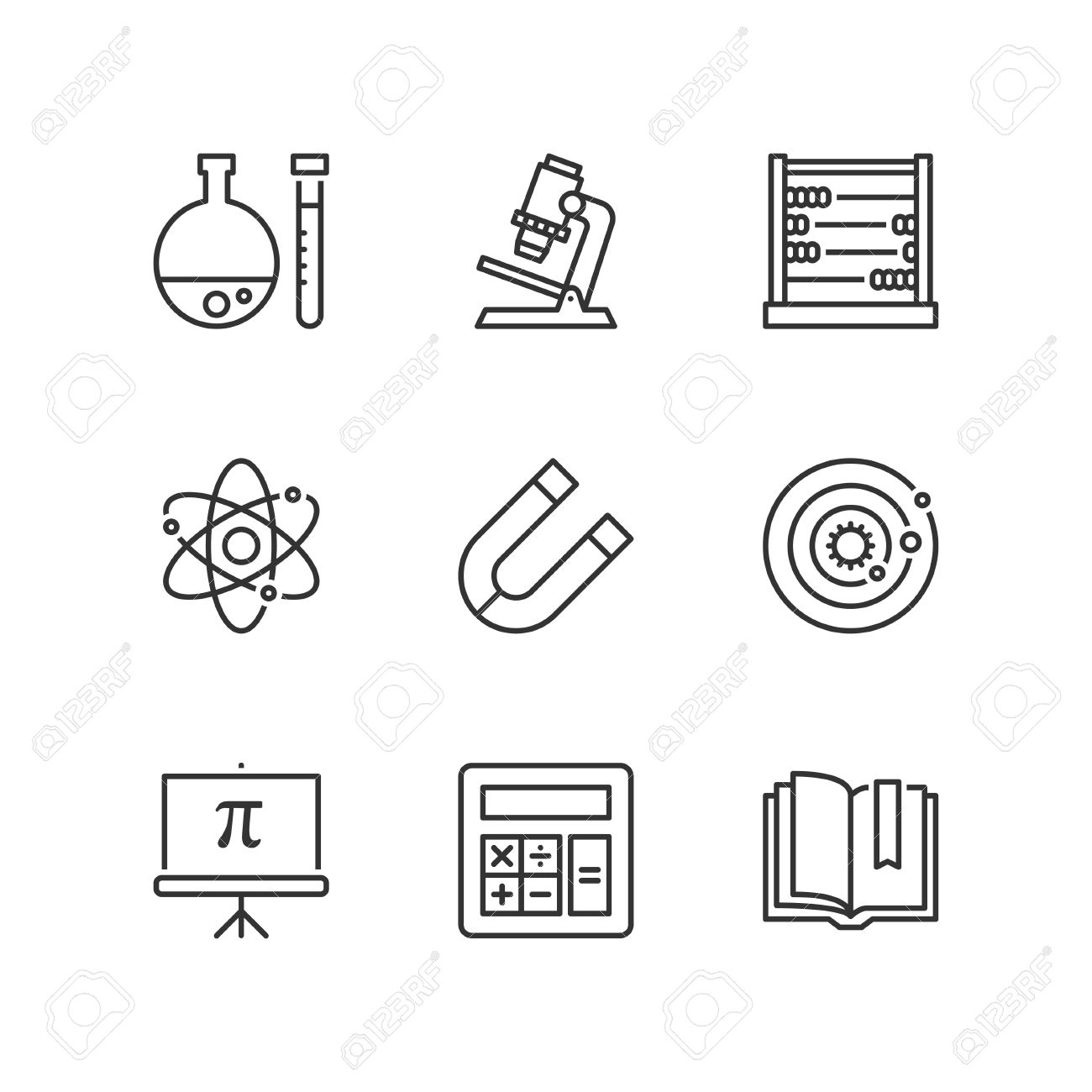 Thin line icons set about school science subjects flat symbols thin line icons set about school science subjects flat symbols stock vector 63054054 buycottarizona Image collections