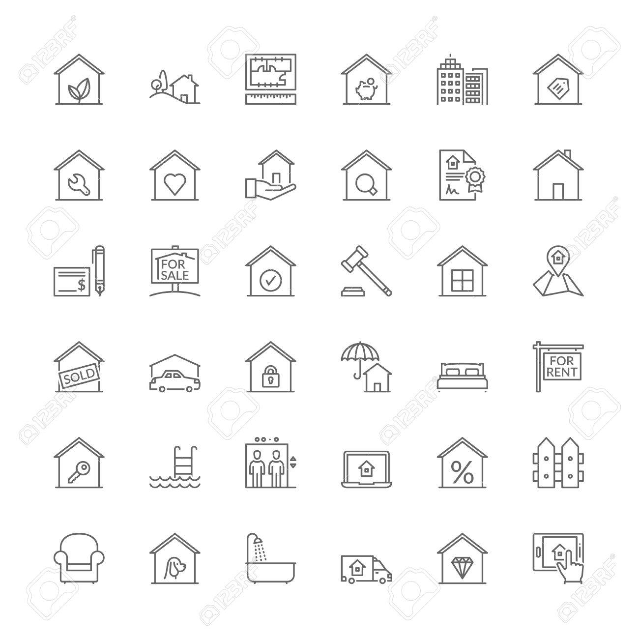 Thin Line Icons Set Flat Symbols About Real Estate Royalty Free
