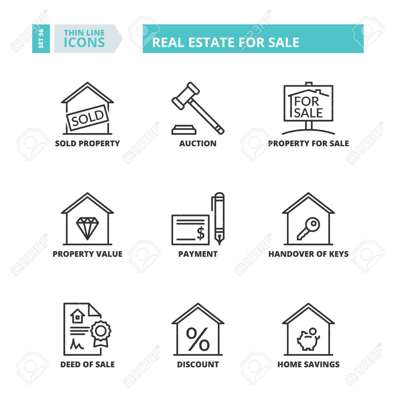 Flat Symbols About Real Estate For Sale Thin Line Icons Set