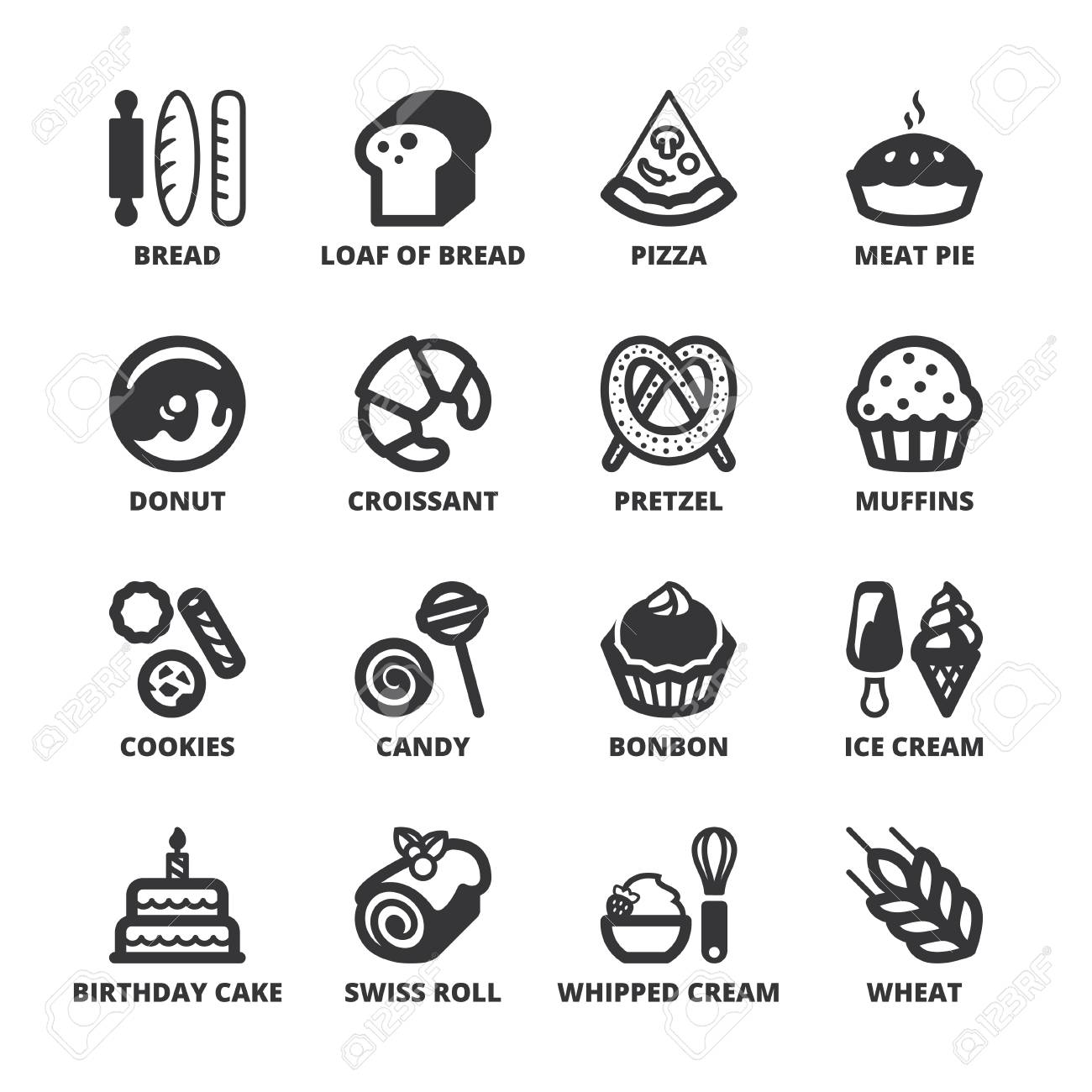 Set Of Black Flat Symbols About Bakery Royalty Free Cliparts